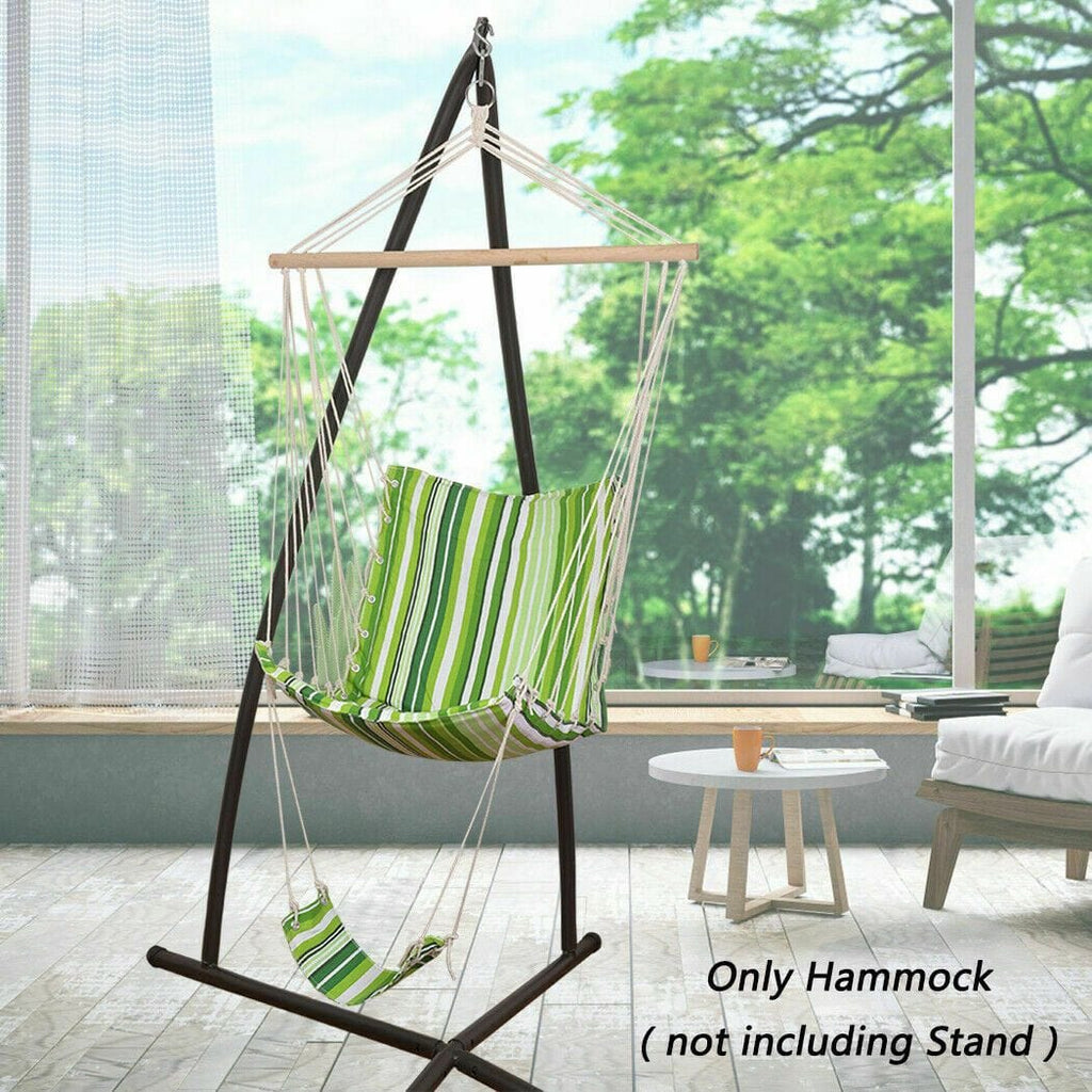 Indoor Outdoor Hanging Rope Hammock Chair w/ Footrest Swing Seat Garden Decor - JUST Hammocks