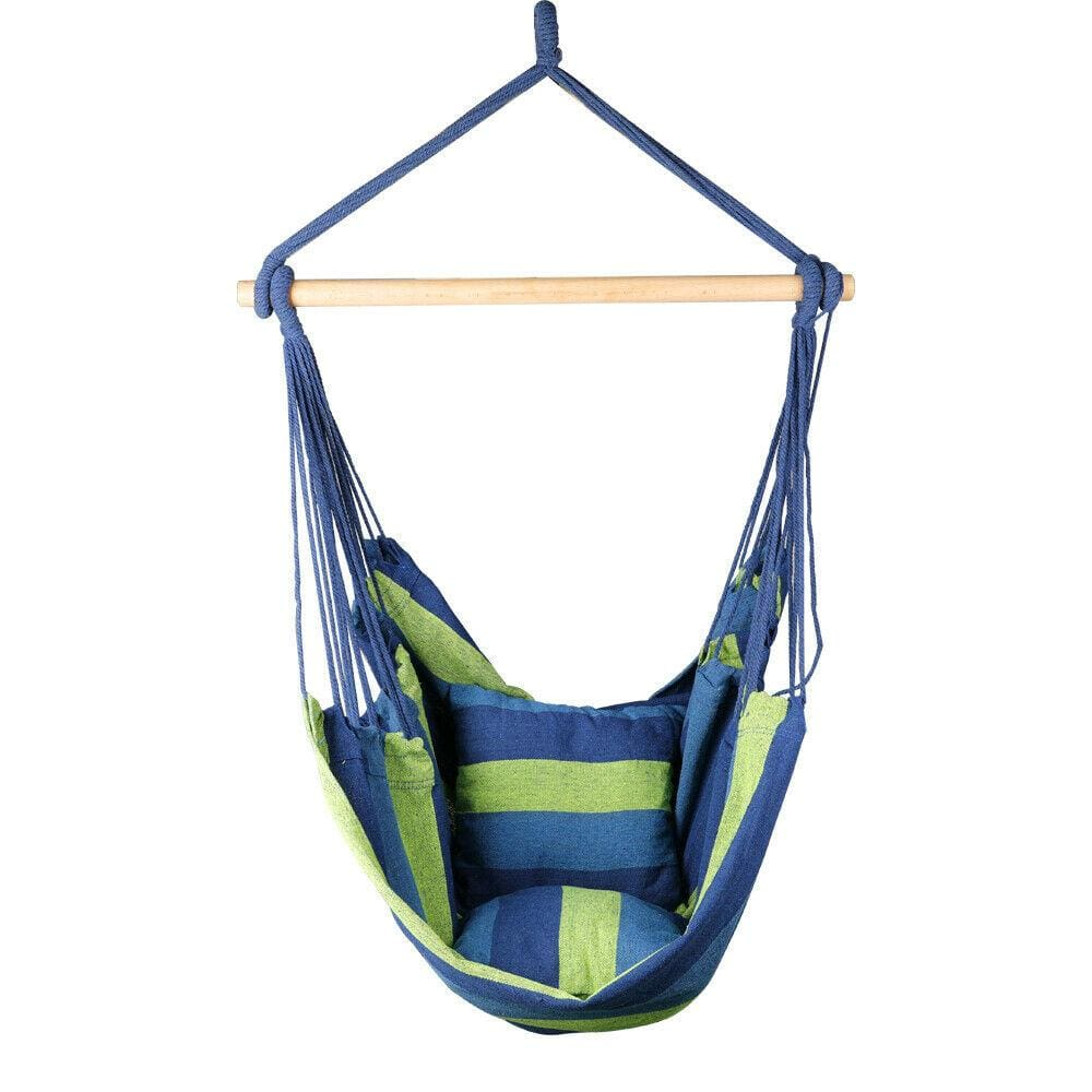 Garden Deluxe Hanging Hammock Chair Outdoor Camping Swing (Blue/Green) - JUST Hammocks