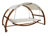 Twin Hammock with Waterproof Canopy & Hardwood Larch Frame