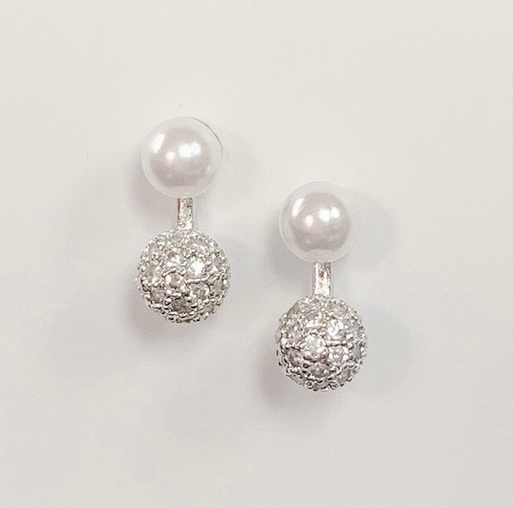 Silver Dipped Pearl Earrings