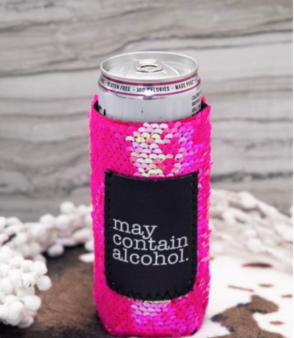 May Contain Alcohol pink sequin Koozie for slim cans