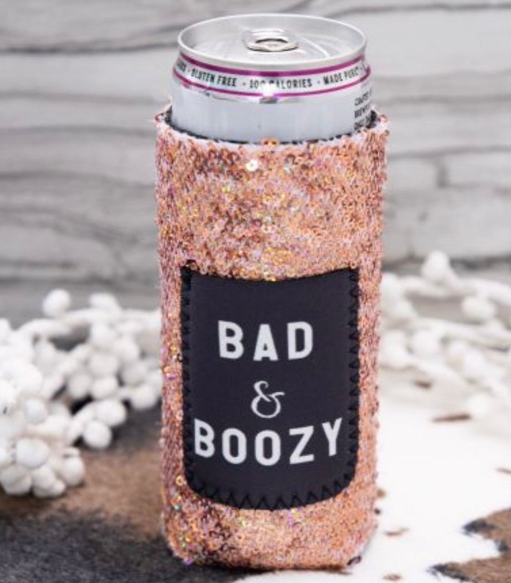Bad & Boozy Rose Gold sequin Koozie for slim cans