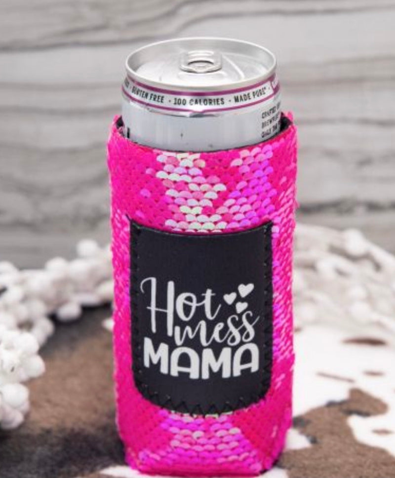 Hot Mess Mama Pink Sequin Koozie for slim cans