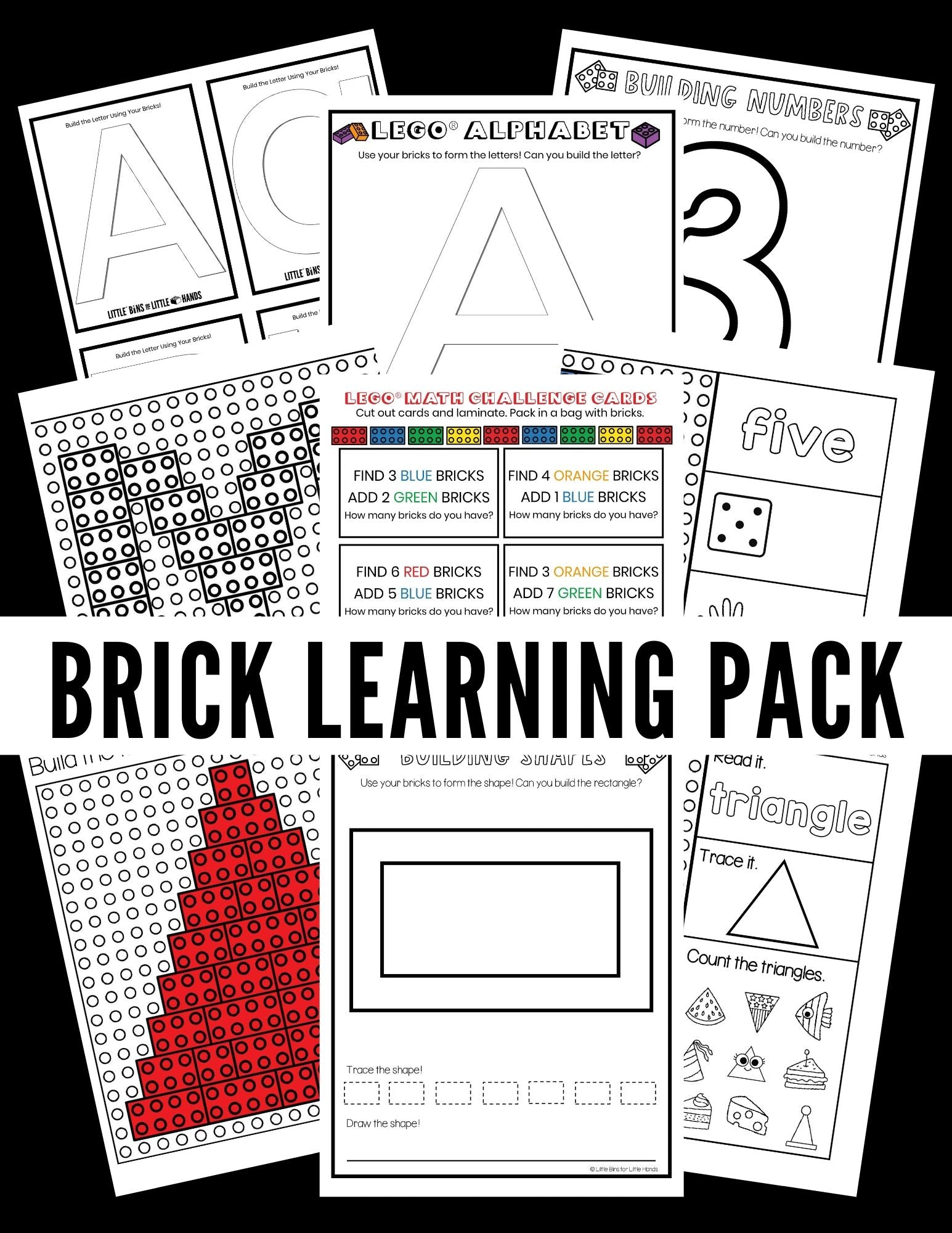 Brick or LEGO Early Learning Pack (Numbers, Letters, and Shapes)