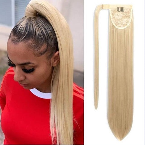 Wrap Around Ponytail - 20 inch Super Straight - 100% Virgin Hair - Color #613 (Blonde)