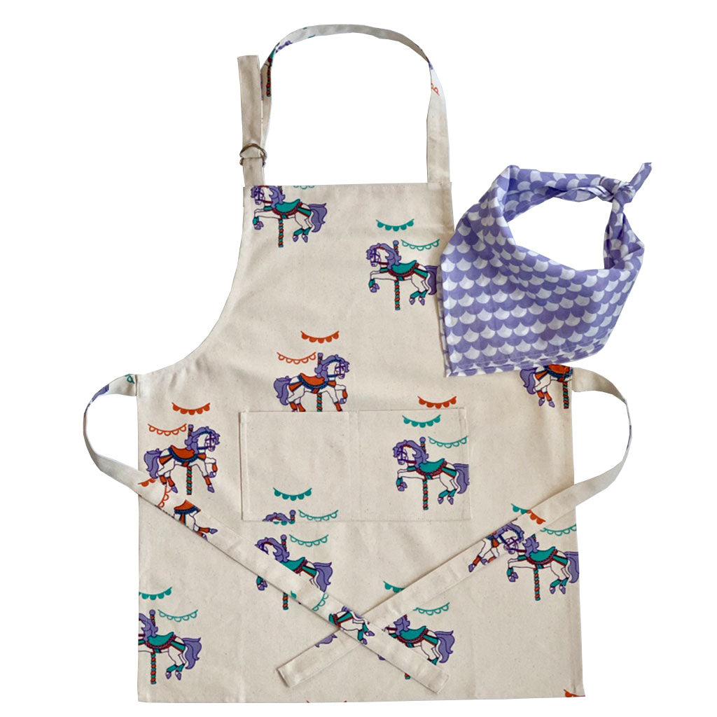 Children's Apron + Bandana Set- Carousel