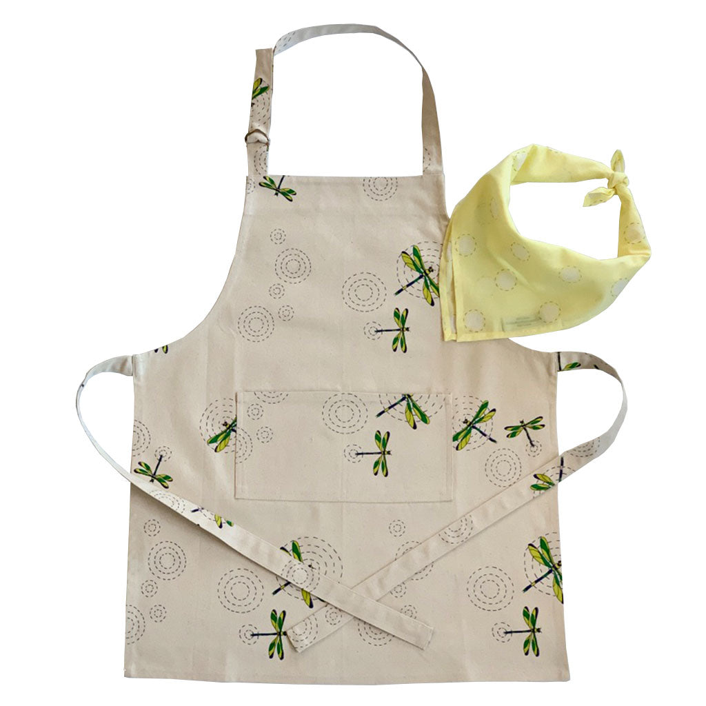 Children's Apron + Bandana Set- Dragonfly