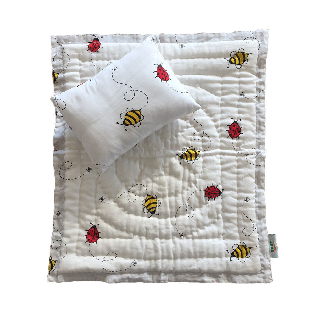 Little Play Bedding- Bugs n Bees Pillow + Blanket