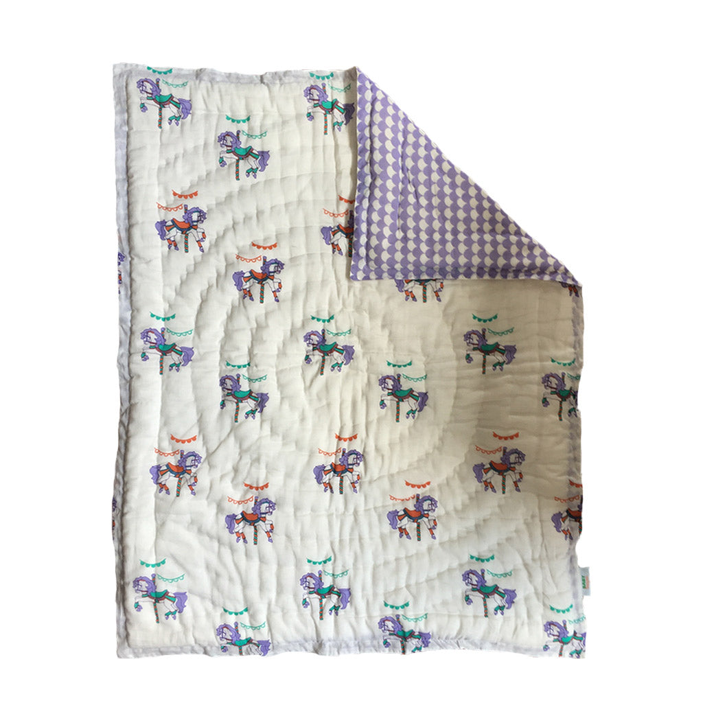 Quilted Cotton Play Blanket- Carousel