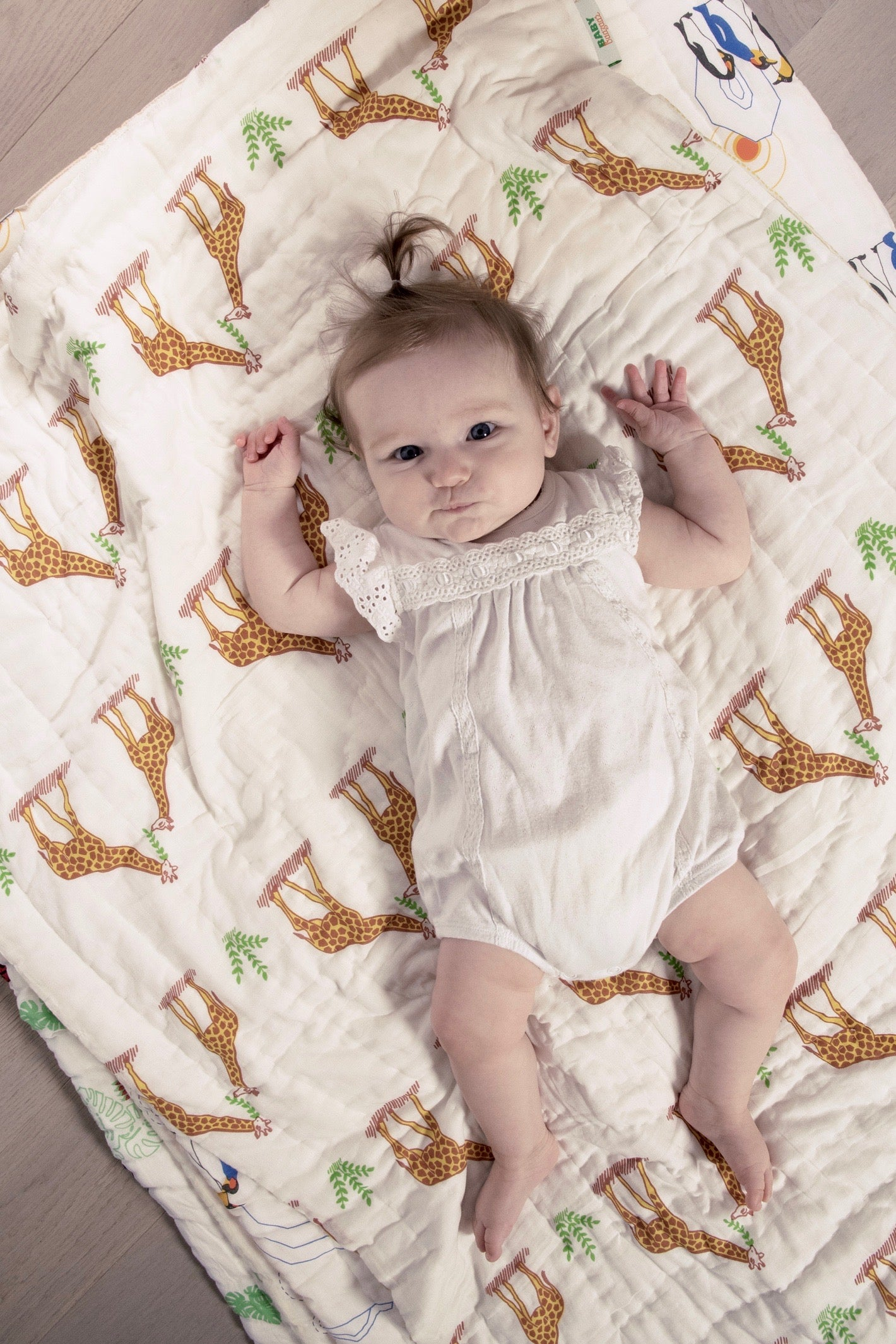 Quilted Cotton Play Blanket- Giraffe