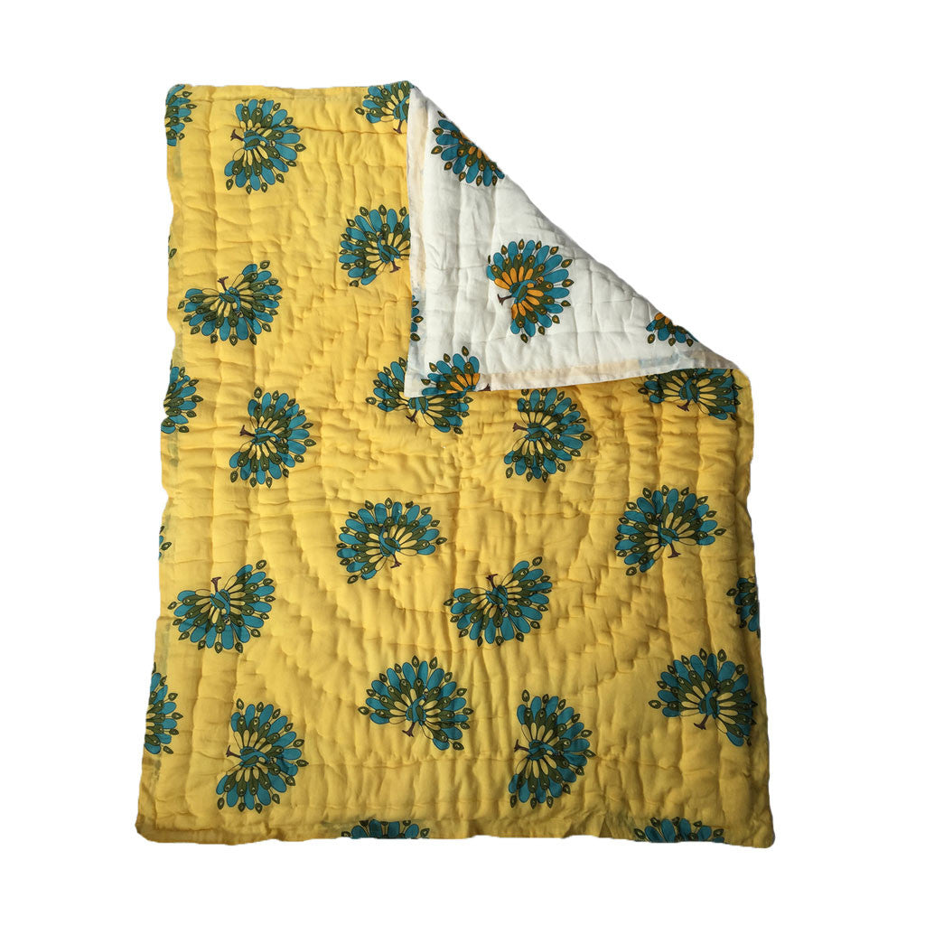 Quilted Cotton Baby Blanket- Peacock -  - 3