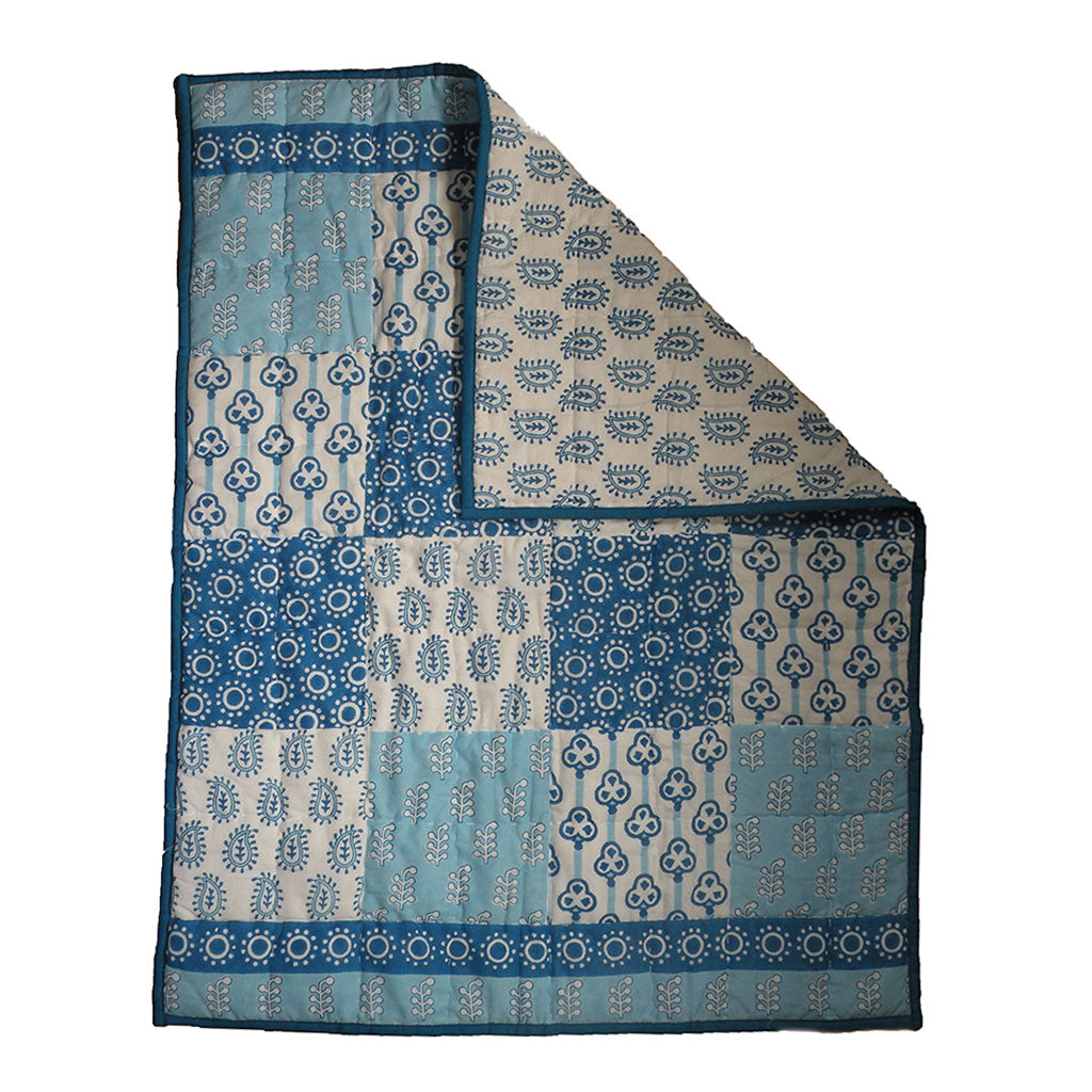 Quilted Cotton Play Blanket- Indigo Patches