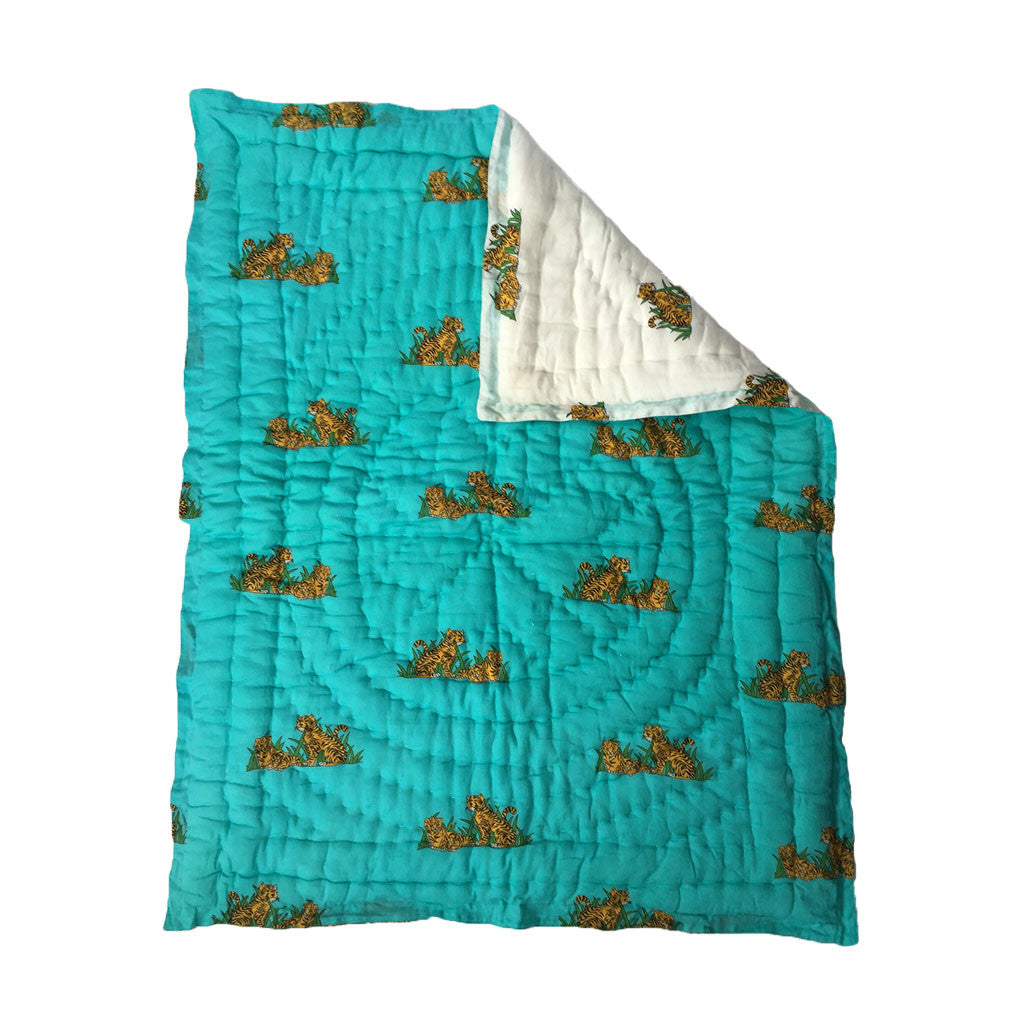 Quilted Cotton Baby Blanket- Tiger -  - 3