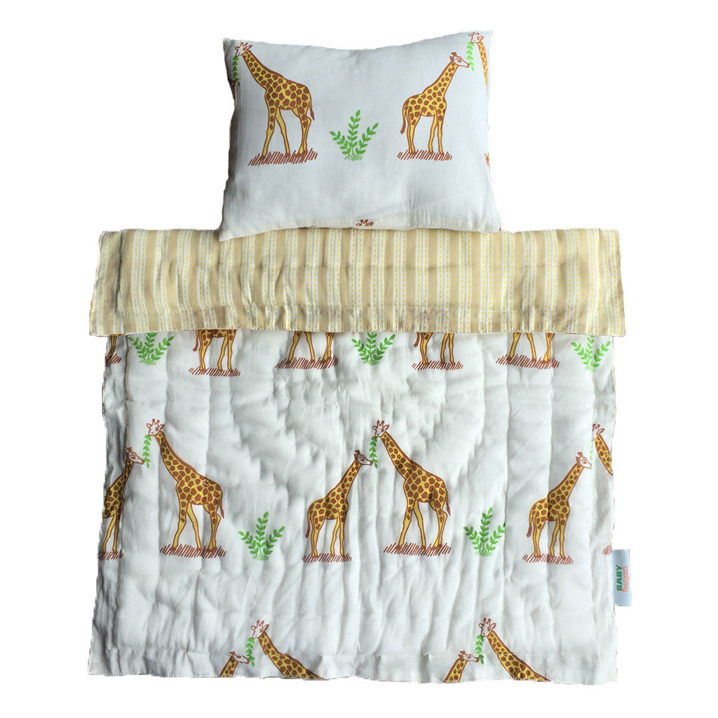Little Play Bedding- Giraffe Pillow + Blanket