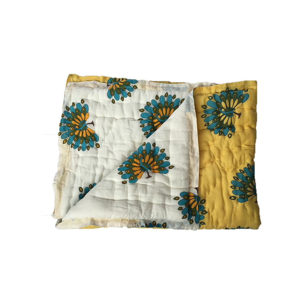 Quilted Cotton Baby Blanket- Peacock -  - 1