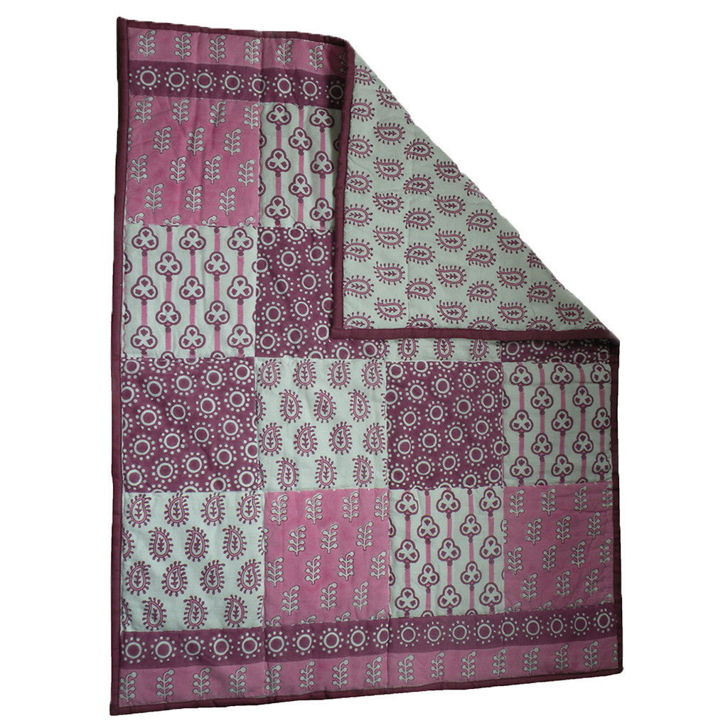 Quilted Cotton Play Blanket- Pink Patches