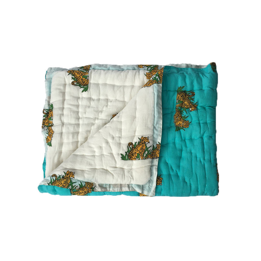 Quilted Cotton Baby Blanket- Tiger -  - 1