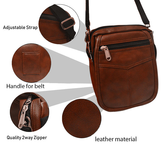 ECellStreet Genuine Leather Small Briefcase Messenger Satchel,Pouch for Samsung Galaxy Tab A 8.0 (2017) SM-T385 (Brown)
