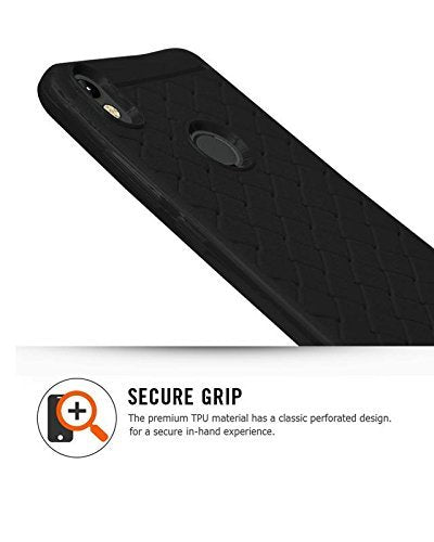 Asus Zenfone Max (M1) ZB555KL Texture Pattern Soft Cusion Padding Case Back Cover - Black