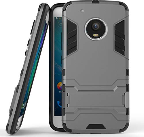 Motorola Moto G5s Heavy Duty Kick Stand Hard Dual Protection Back Case Cover (Grey)