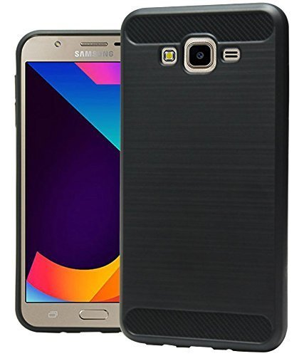 Samsung Galaxy J7 Nxt Soft Rubberised Back Case Cover - Black