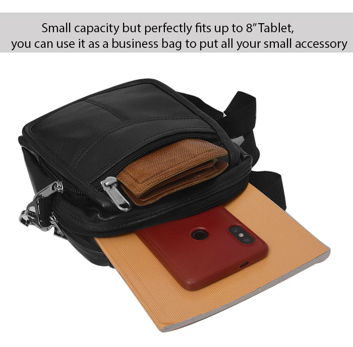ECellStreet Genuine Leather Small Briefcase Messenger Satchel,Pouch for Lenovo Tab M7, TB-7305F, TB-7305L, TB-7305X (Black)