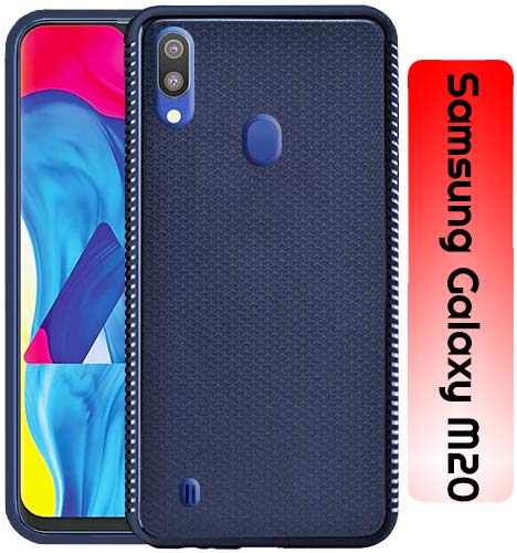 Samsung Galaxy M20 Grip Series Flexible TPU Soft Protective Back Case Cover - Blue