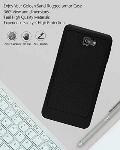 Samsung Galaxy J7 Prime 2 Soft Dotted Texture Back Case Cover - Black