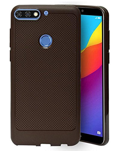 Huawei Honor 7C Soft Dotted Texture Back Case Cover - Brown