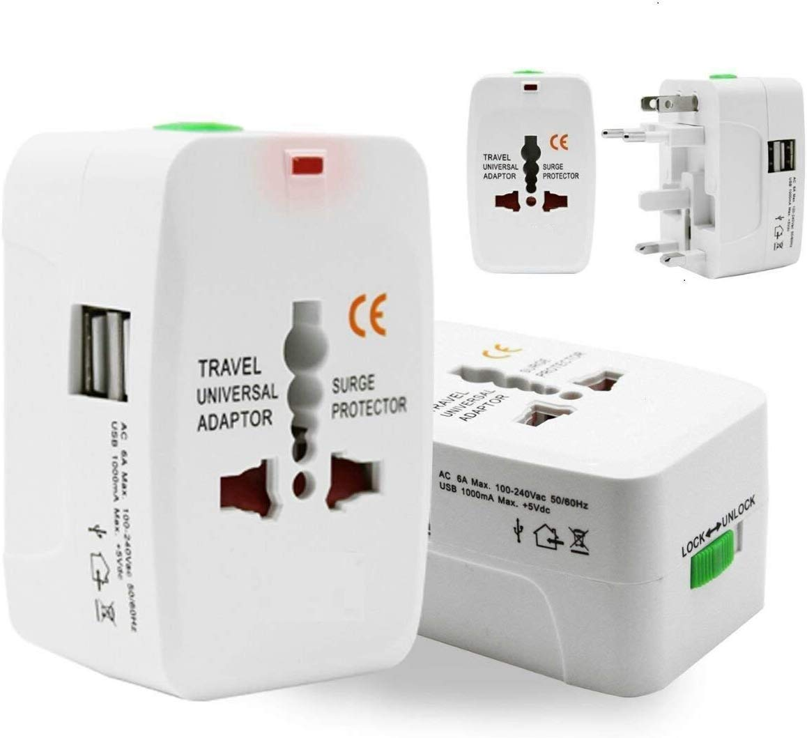 ECellStreet Universal Adapter Worldwide Travel Adapter with Built in Dual USB Charger Ports with 125V 6A, 250V Protected Electrical Plug (White)