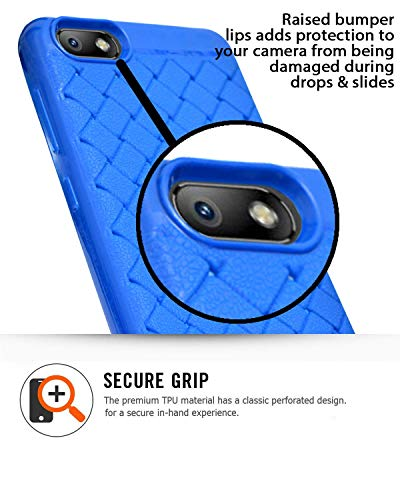 Micromax Bharat 5 Plus Texture Pattern Soft Cusion Padding Case Back Cover - Blue