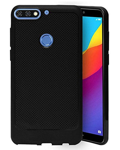 Huawei Honor 7C Soft Dotted Texture Back Case Cover - Black