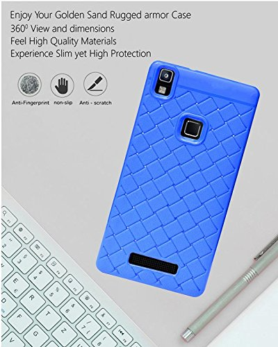 Lava Z80 4G Texture Pattern Soft Cusion Padding Case Back Cover - Blue