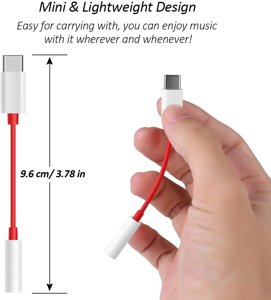ECell Premium USB Type C Audio Adapter,Type C to 3.5mm Connector Aux Audio Adapter Cable Compatible with Type C Smartphone (Red)