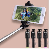 ECellStreet Compact Pocket Size Metal Selfie Stick Wired with Aux Cable Monopod for Android/iOS Smart Phone (Color May Vary)