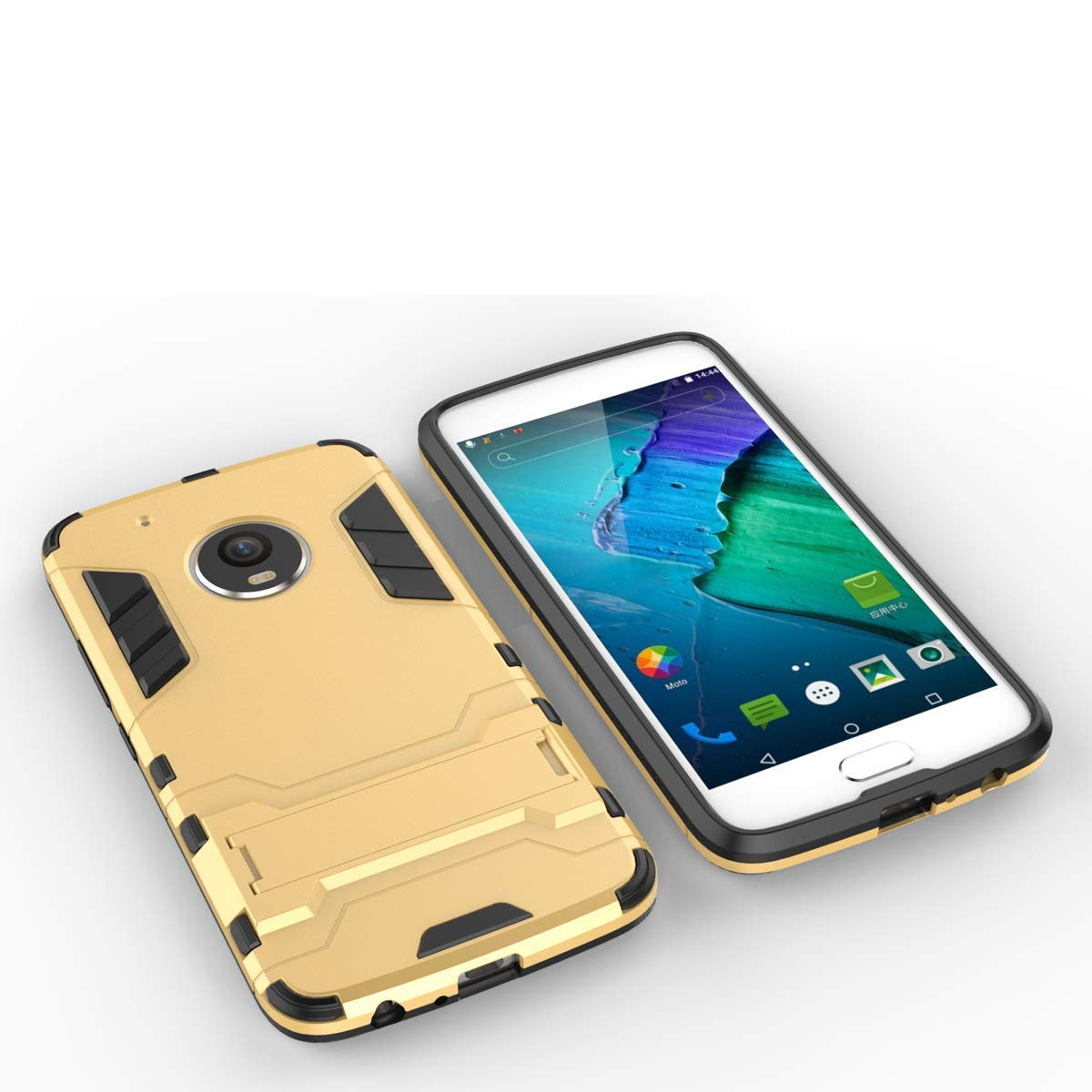 Motorola Moto G5s Heavy Duty Kick Stand Hard Dual Protection Back Case Cover (Gold)