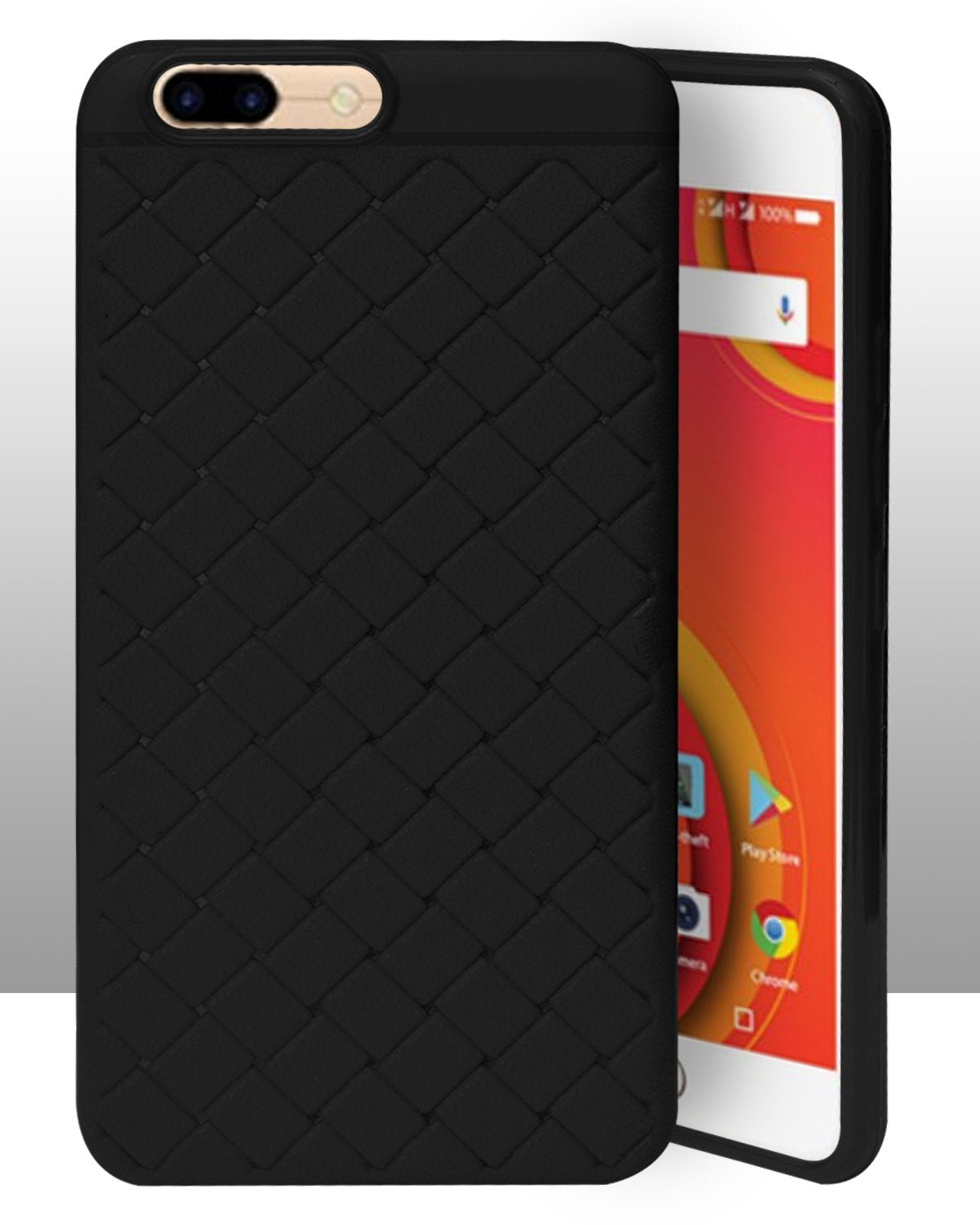 Comio S1 Texture Leather Pattern Soft Cusion Padding Case Back Cover - Black
