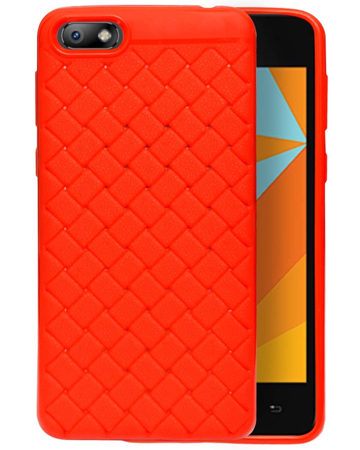 Micromax Bharat 5 Plus Texture Pattern Soft Cusion Padding Case Back Cover - Red