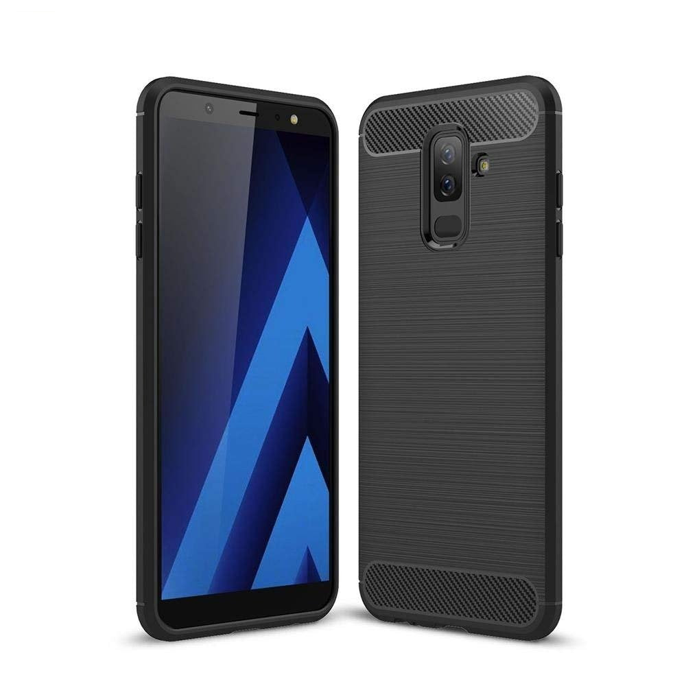 Samsung Galaxy A6 Plus Rubberised Soft Back Case Protective Cover (Black)