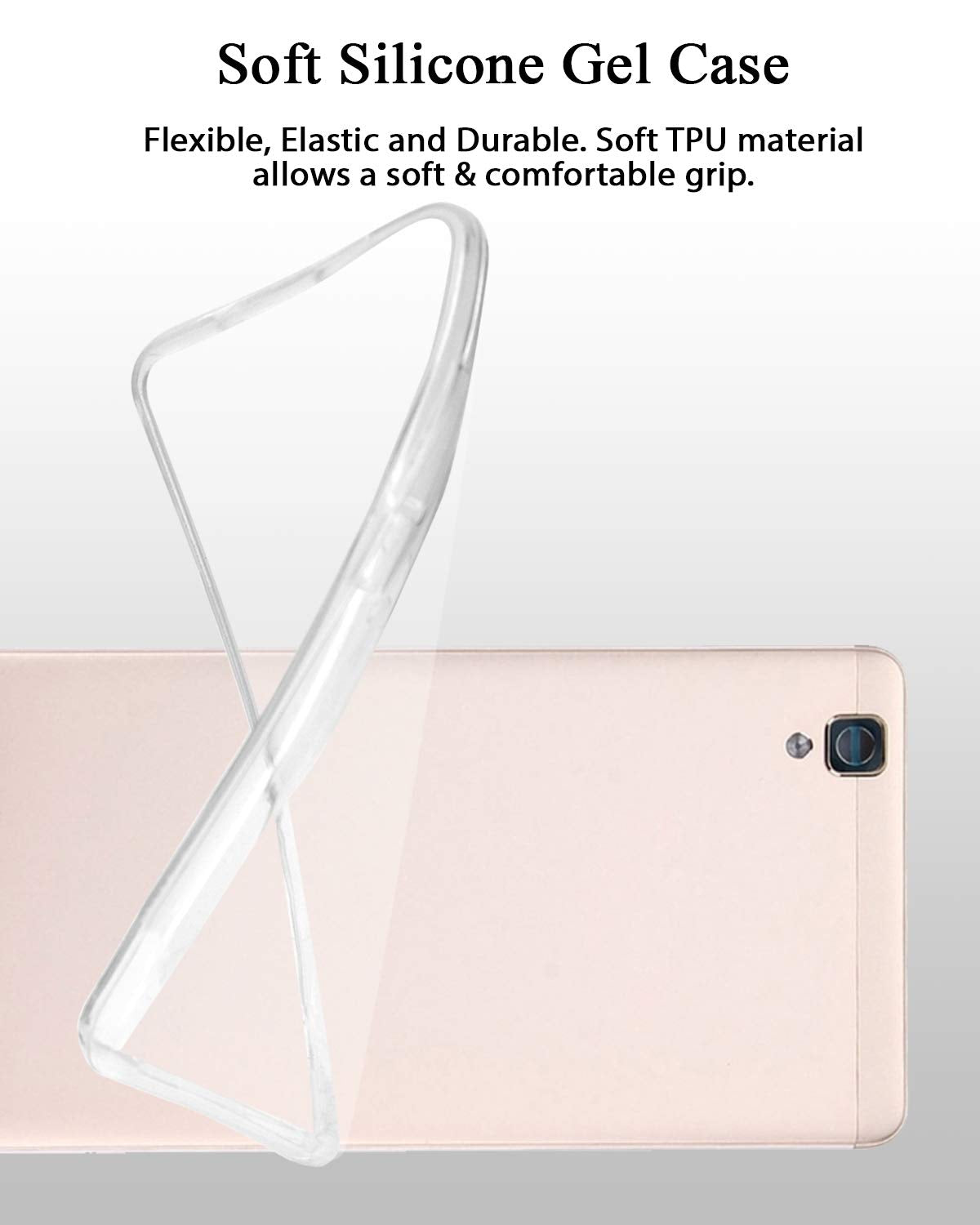 Oppo A53 Silicone Soft Back Case Cover (Transparent)