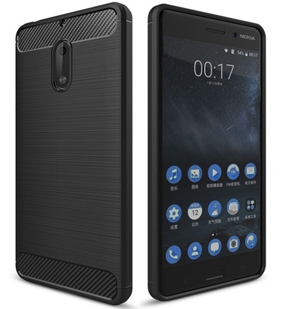 Nokia 6 Rubberised Soft Back Case Protective Cover (Black)