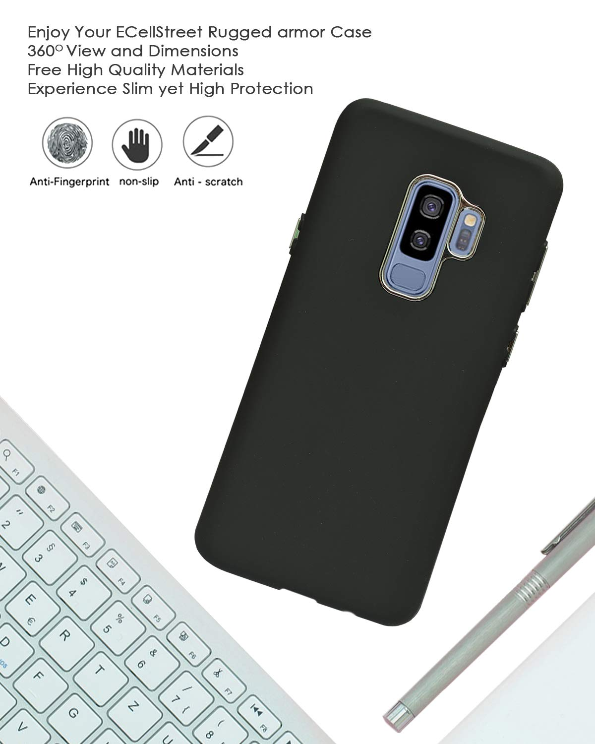 Samsung Galaxy S9 Plus Slim Shockproof Protective Case Cushion Soft Cover - Black