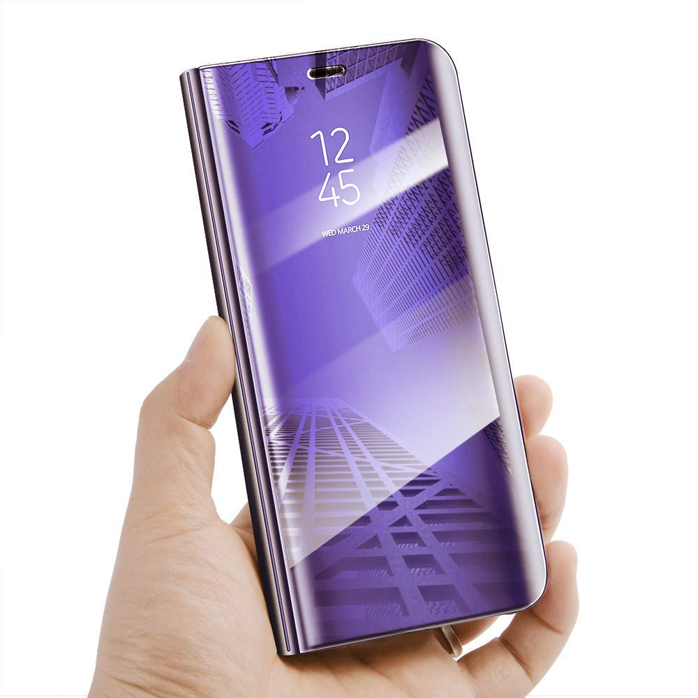 Vivo Y83 Luxury Clear View Electroplate Mirror Protective Leather Flip Cover (Purple)