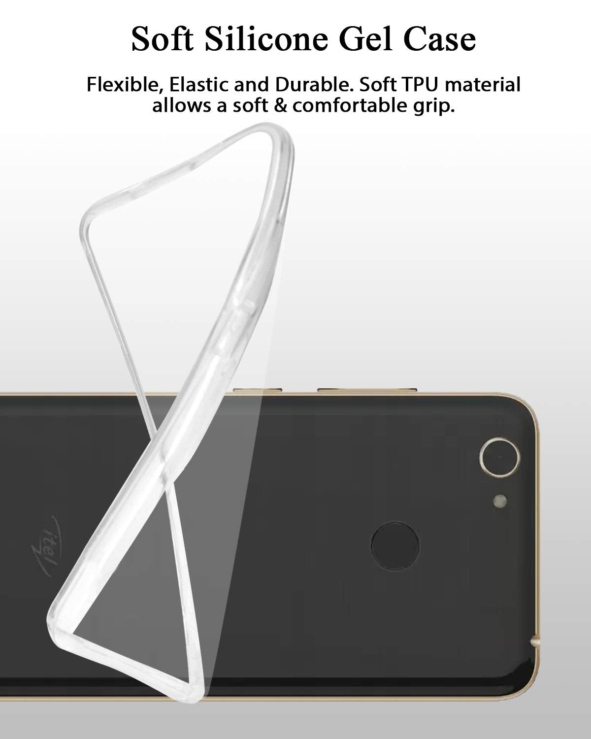 itel A42 Plus Silicone Soft Back Case Cover (Transparent)