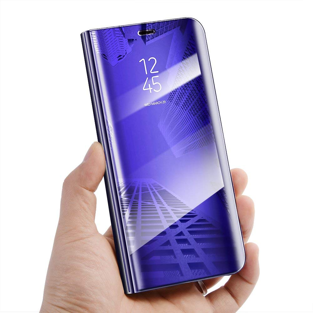 Samsung Galaxy J6 Plus Luxury Clear View Electroplate Mirror Protective Leather Flip Cover (Purple)