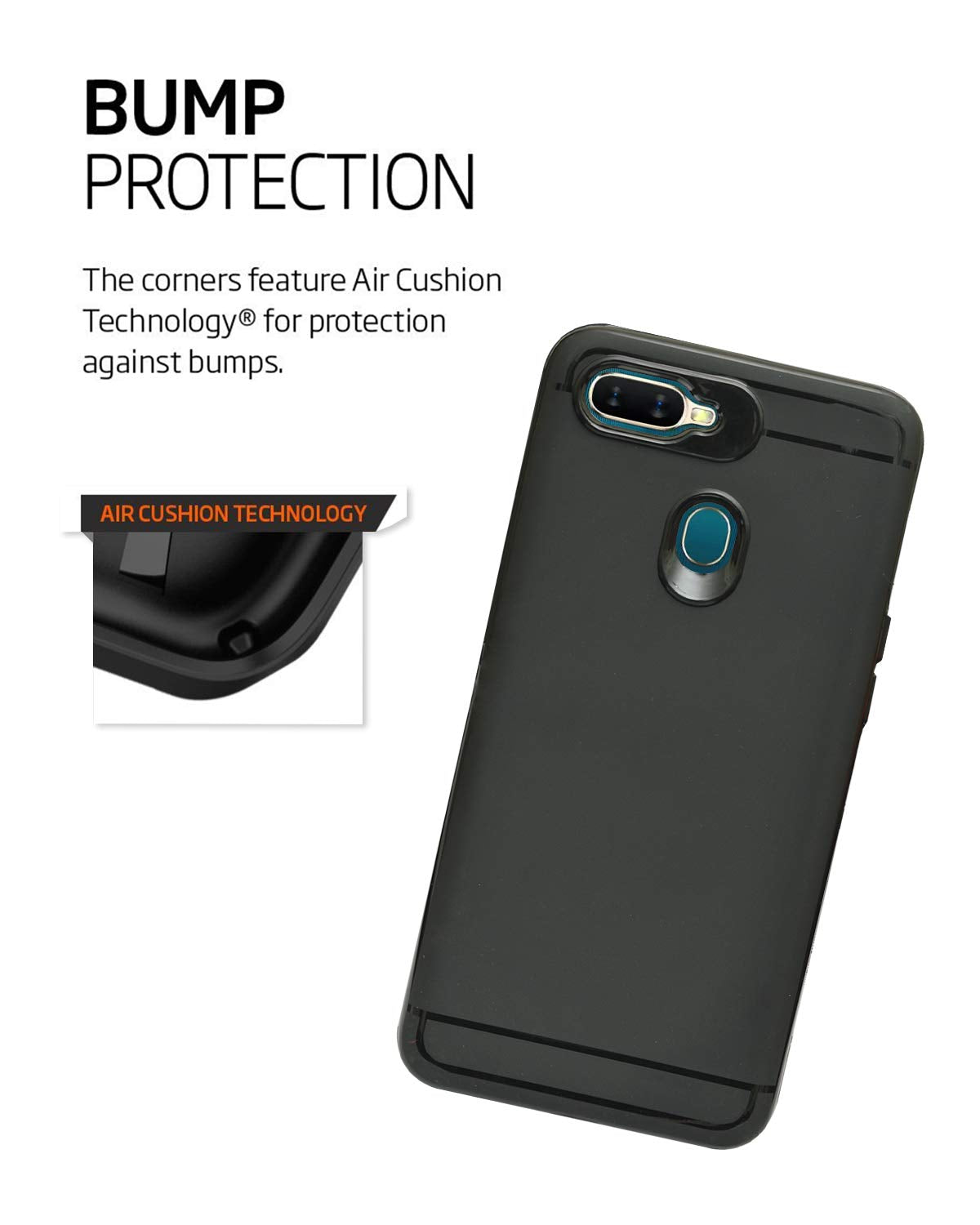 Oppo A7 Silicon Soft Back Cover Protective Case (Black)