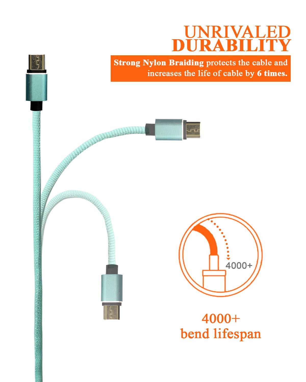 Marley Hudson Nylon Braided Data Sync Fast Charging USB Cable for Android Smart Phone - 0.91m/3Ft