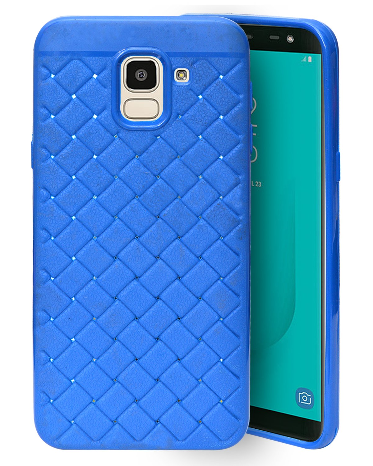 Samsung Galaxy J6 J600F Texture Soft Cusion Padding Back Case Cover - Blue