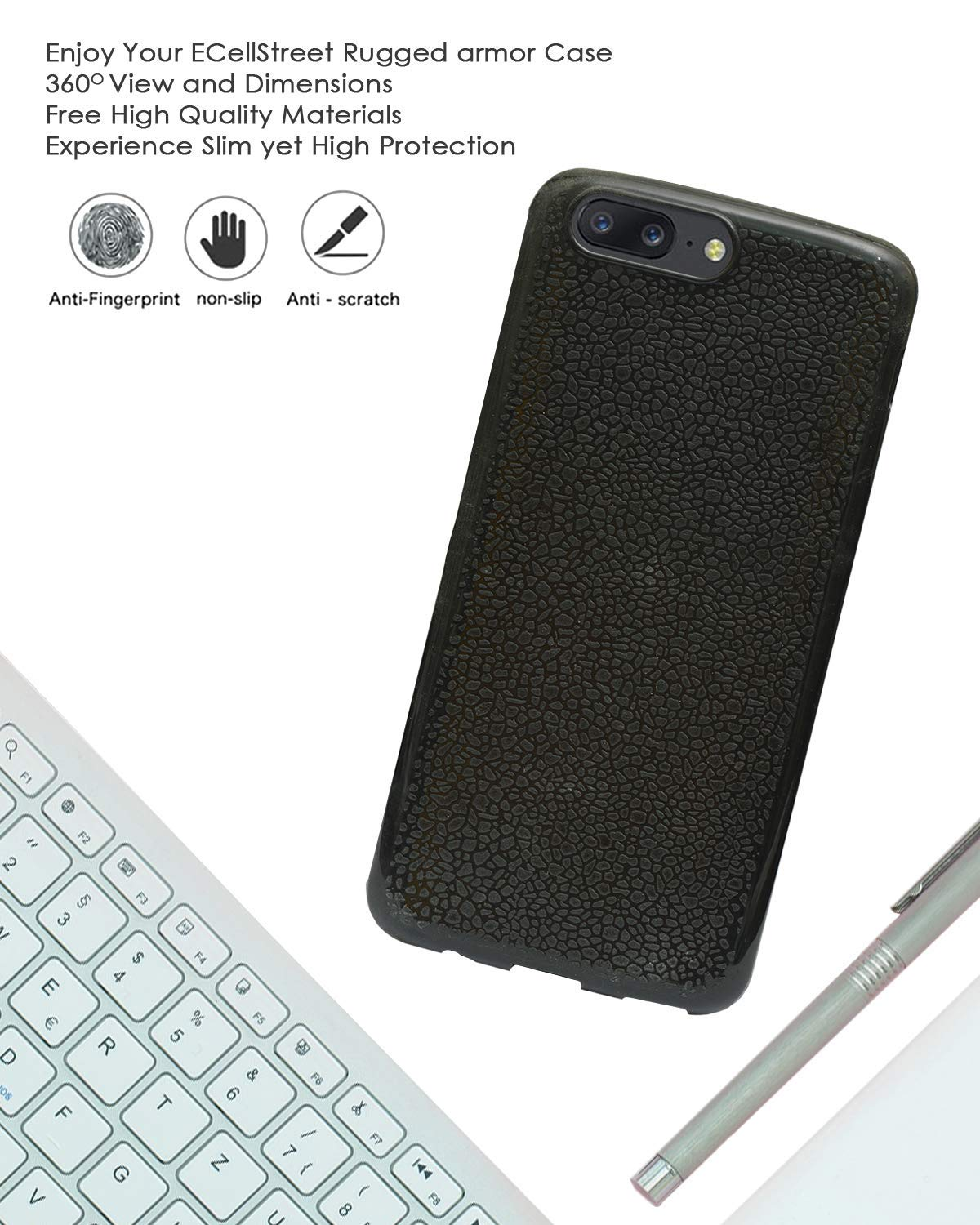 OnePlus 5 Silicon Soft Back Cover Protective Case (Black)