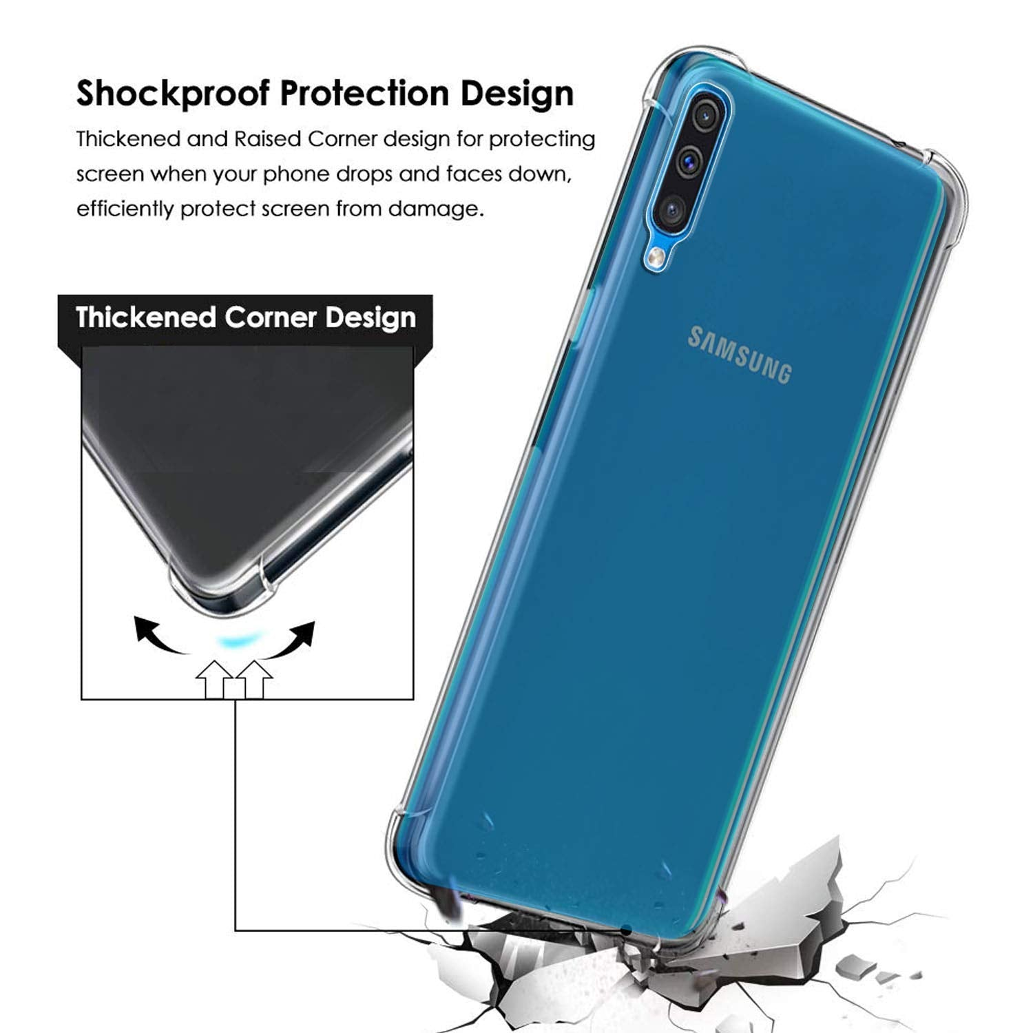 Samsung Galaxy A50 Soft PC TPU Bumper Slim Protective Back Cover Case (Transparent)